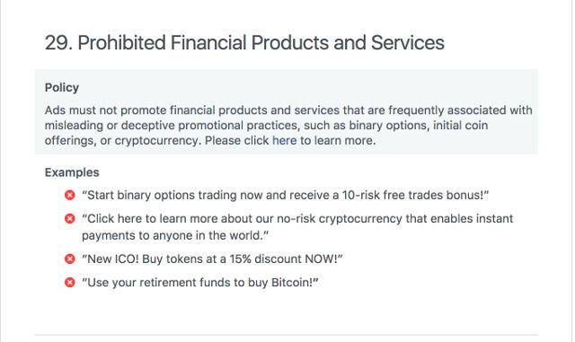 Facebook proíbe anúncios de venda de bitcoin e todas as criptomoedas