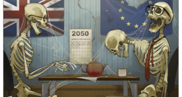 Charge de dois esqueletos e bandeiras do Reino Unido e União Europeia