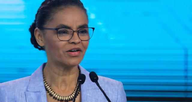 Marina Silva em debate durante campanha eleitoral à Presidência em 2018
