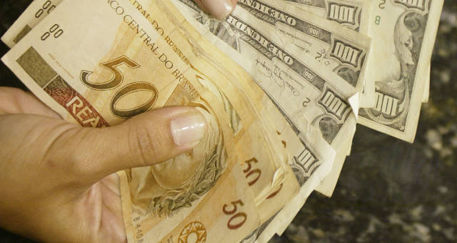 Real moedas dólar dinheiro