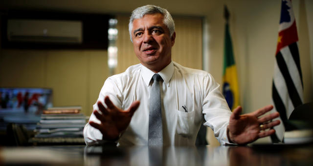 Senador Major Olimpio durante entrevista à Reuters em Brasília