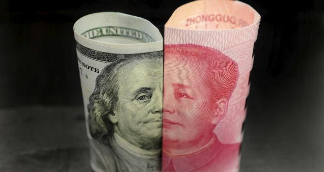 Notas de dólar e iuan EUA China