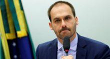 Eduardo Bolsonaro durante reunião da Comissão de Relações Exteriores da Câmara dos Deputados