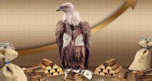 greedy abutre ganância dinheiro barra de ouro saco cédulas notas