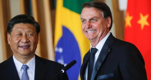 Presidente Jair Bolsonaro e presidente chinês, Xi Jinping, após reunião bilateral em Brasília