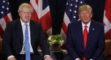 Primeiro-ministro do Reino Unido, Boris Johnson, ao lado do presidente dos EUA, Donald Trump
