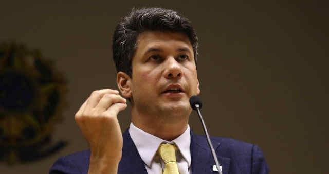 O presidente do Banco Nacional de Desenvolvimento Econômico e Social (BNDES), Gustavo Montezano, durante entrevista coletiva, no Ministério da Economia.