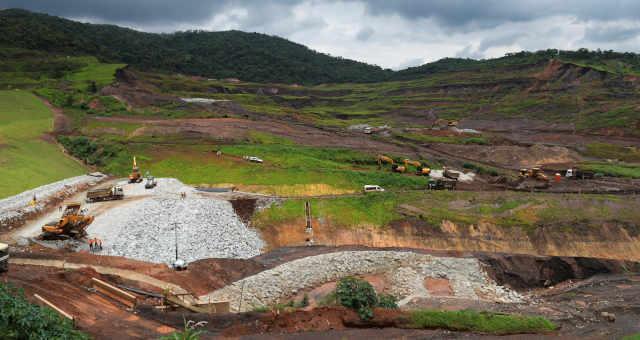 Vista da barragem de rejeitos da mineradora brasileira Vale que entrou em colapso em Brumadinho