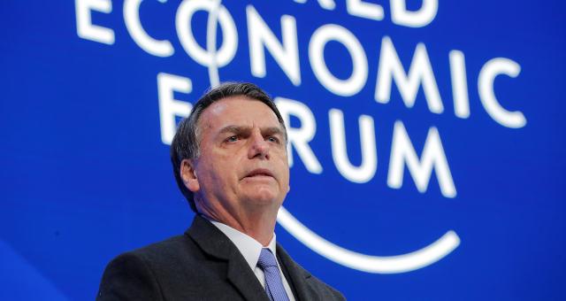 O presidente Jair Bolsonaro fala ao participar da reunião anual do Fórum Econômico Mundial em Davos, Suíç