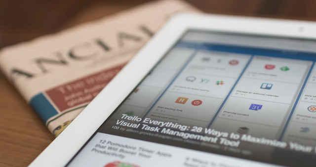 tablet notícias jornal finança