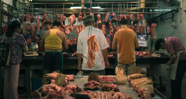 Ásia China Açougue Suínos Carnes Consumo