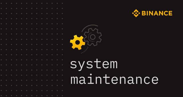 binance API manutenção de sistema