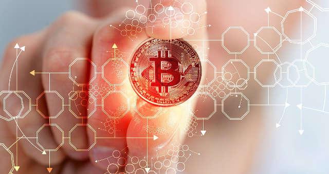 bitcoin moeda mão tecnologia rede blockchain
