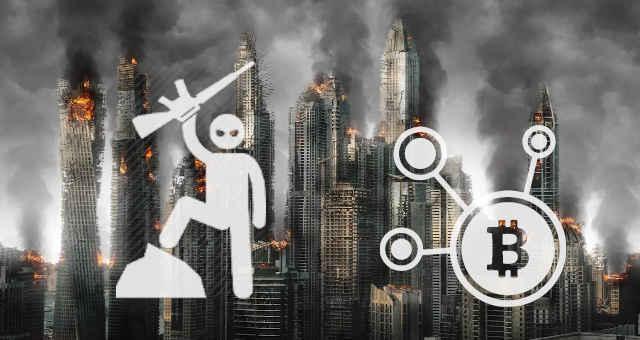 destruição guerra bitcoin