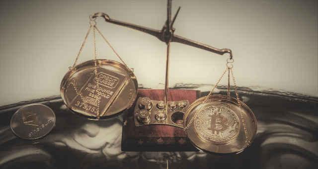 ouro bitcoin ether balança