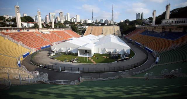 Hospital temporário no estádio do Pacaembu