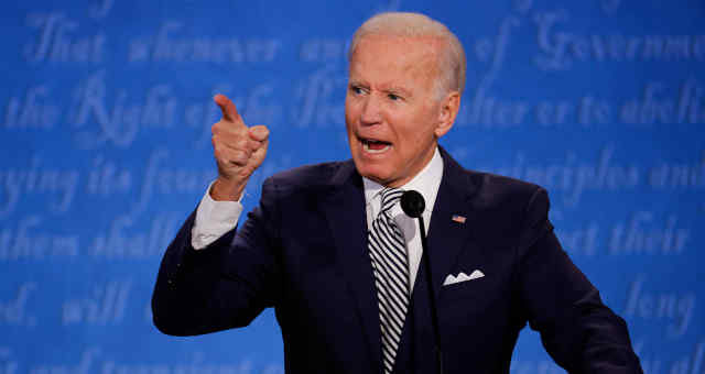 Biden, durante primeiro debate na TV da campanha presidencial nos EUA 29/9/2020