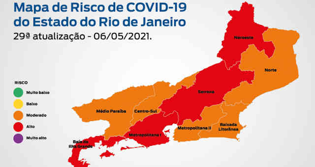 Mapa de risco da Covid-19 no Rio de Janeiro