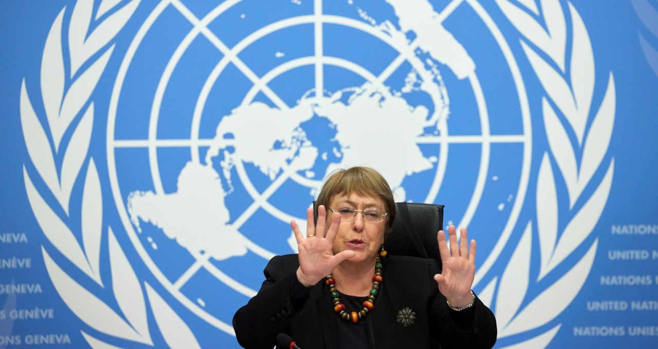 Alta comissãria de Direitos Humanos da ONU, Michelle Bachelet, durante entrevista coletiva em Genebra 09/12/2020