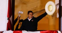 Candidato à presidência do Peru, Pedro Castillo, em Lima