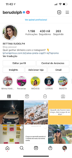 Print do perfil de Bettina Rudolph no Instagram
