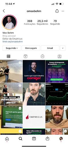 Print do perfil de Max Bohm no Instagram