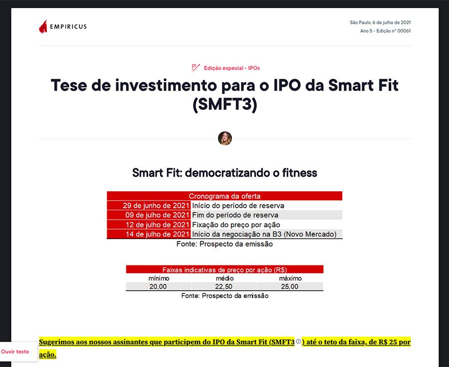 Relatório com tese de investimento do IPO de Smartfit SMFT3