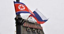 Bandeiras da Rússia e Coreia do Norte