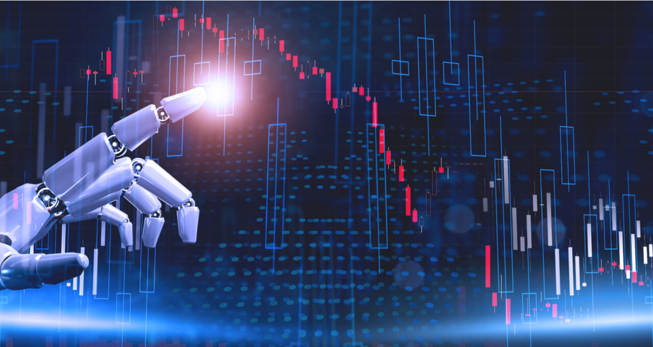 Mão robótica tocando um gráfico da Bolsa