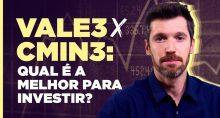 Max Bohm à direita com fundo roxo etexto dizendo VALE3 X CMIN3: qual é a melhor para investir?